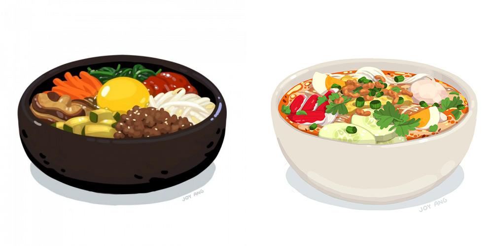 Food Studies - Personal illustrations. These remind me of the renderings of food in Miyazaki films.