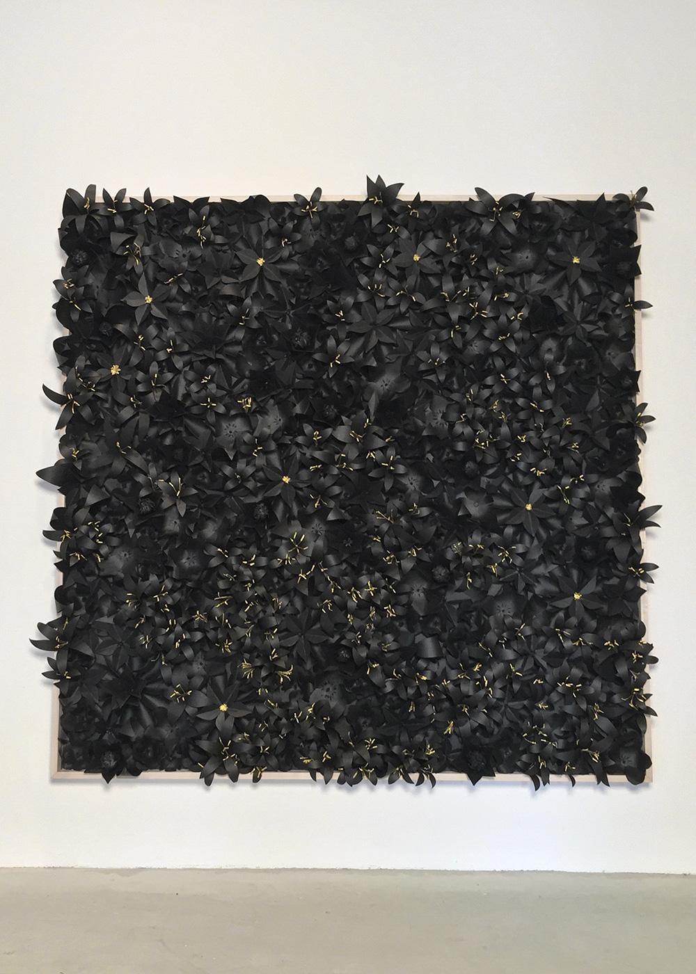 """Jerome E Drakeford"" | 2014, 6′ x 6′, Materials: Tar Paper, Crepe Paper, Poplar"