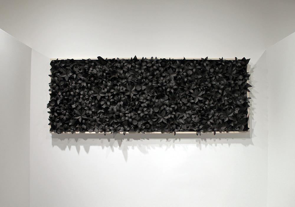 """Self Portrait II"" | 2014, 3′ x 8′, Materials: Tar Paper, Crepe Paper, Poplar"