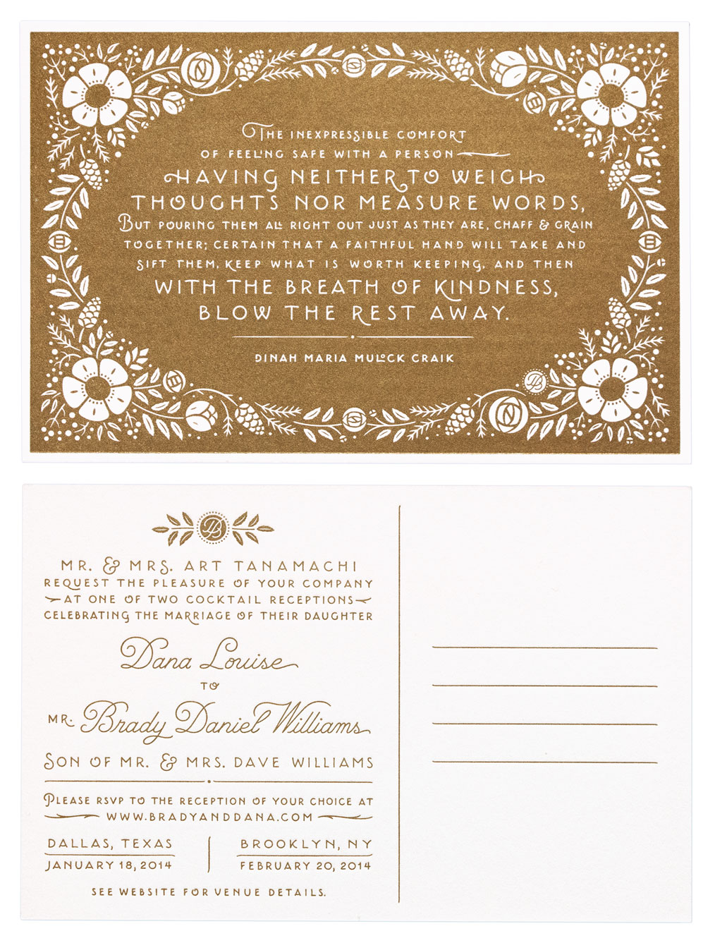 An invite for Dana Tanamachi's wedding • Lettering, illustration, design • Art direction: Dana Tanamachi.