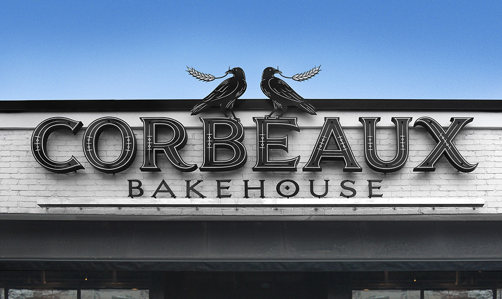 Identity for Corbeaux Bakehouse • Design, lettering, illustration • Art direction: Louise Fili