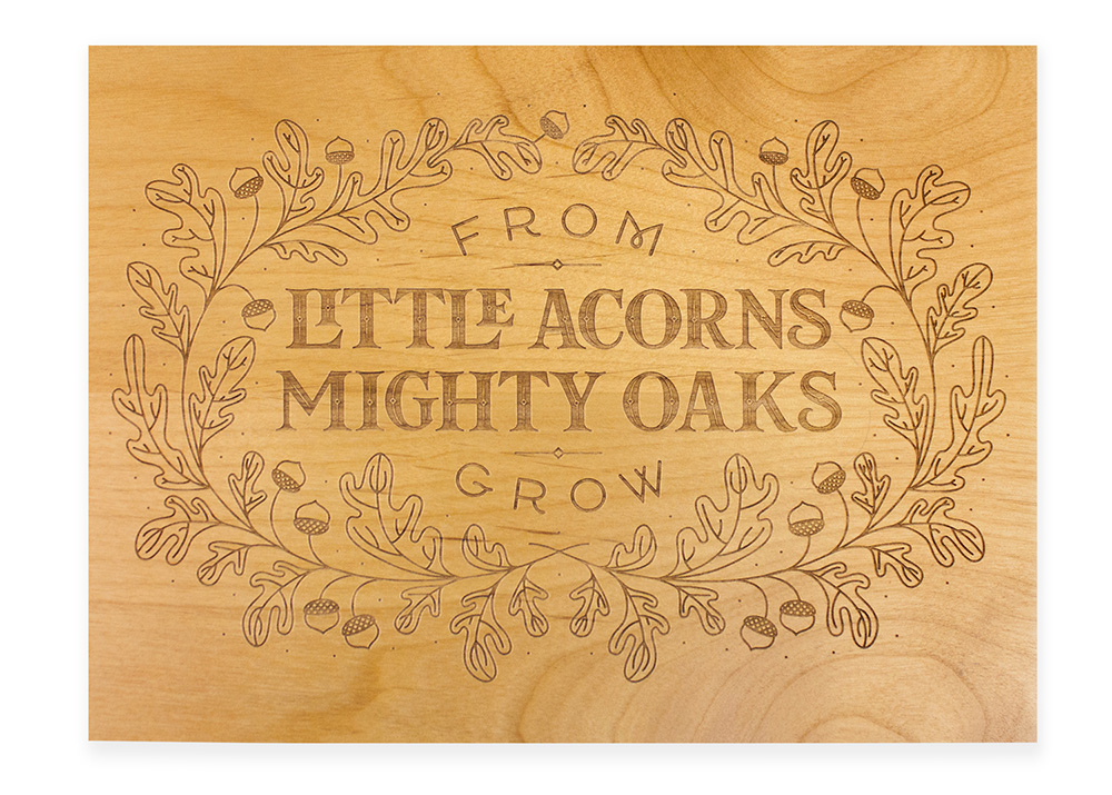 One of several designs for Cardtorial's laser-cut wood boxes. Kelly also got to choose the type of wood and stain for each box!
