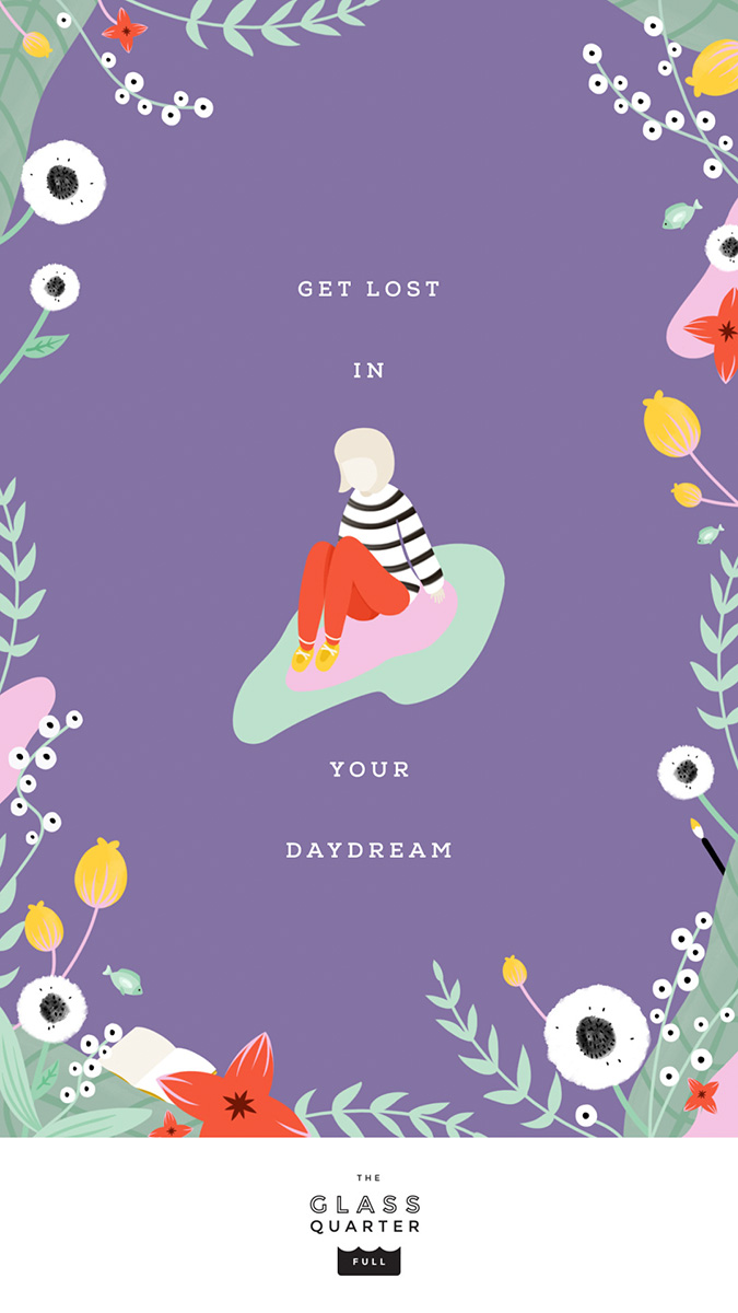 """Get Lost in Your Daydream"" illustration by Elen Winata, via Badass Lady Creatives"