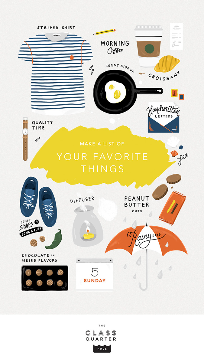 """Make a list of your favorite things"" illustration by Elen Winata, via Badass Lady Creatives"