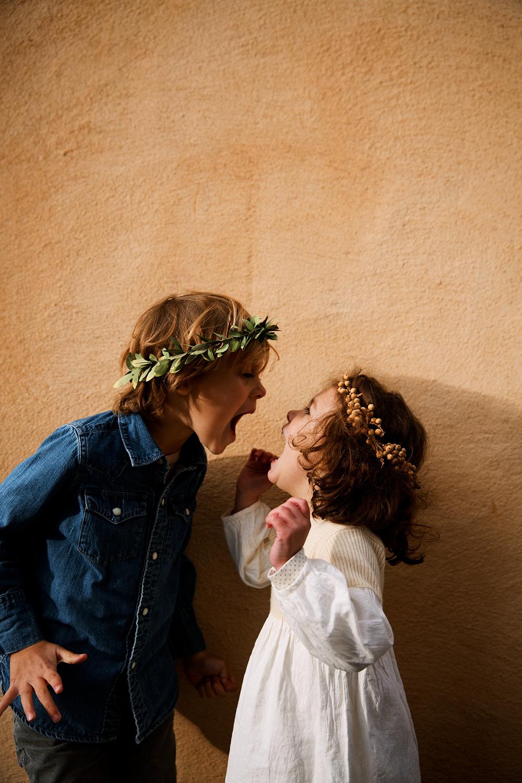 Children wearing Flowershop flower crowns, photo by Olivia Rae James