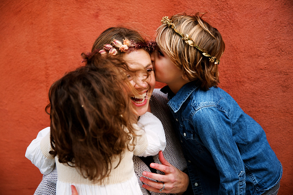 Mother and children wearing Flowershop flower crowns, photo by Olivia Rae James