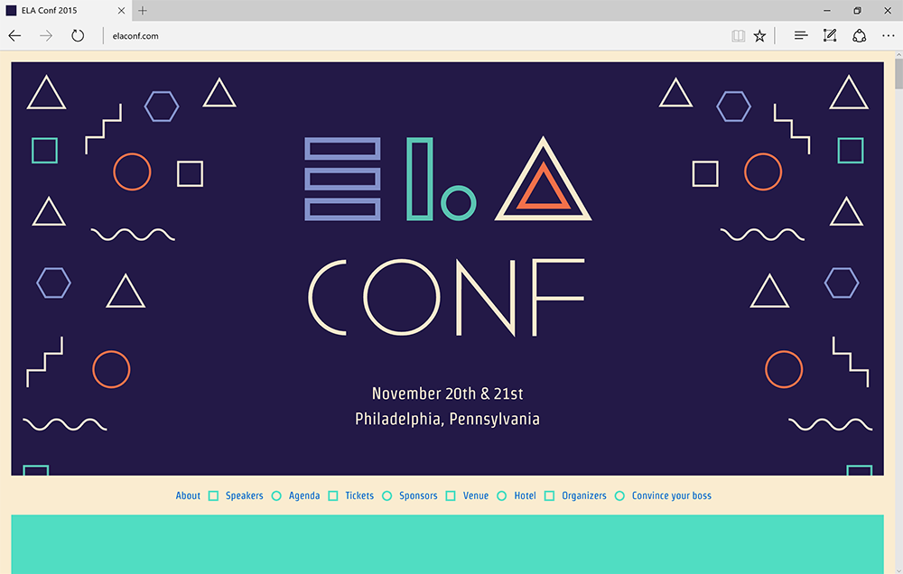 Screenshot of the ELA Conf website