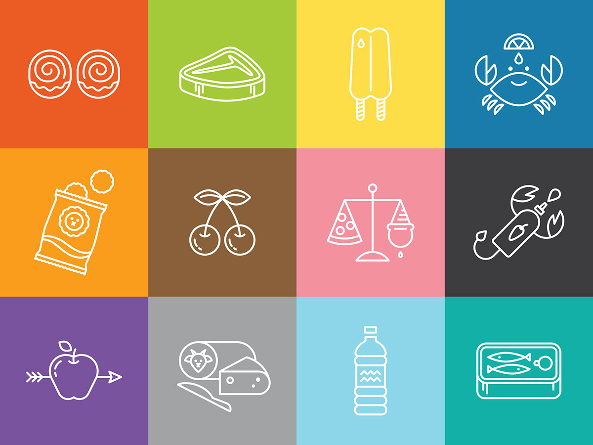 Snack-o-scopes icons, illustrated by Helen Tseng