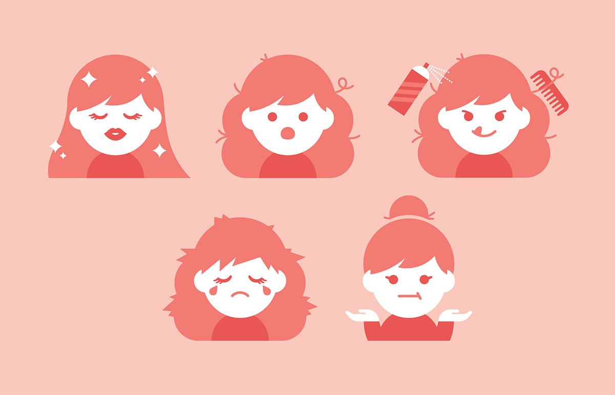 Good and bad hair days, illustrated by Helen Tseng