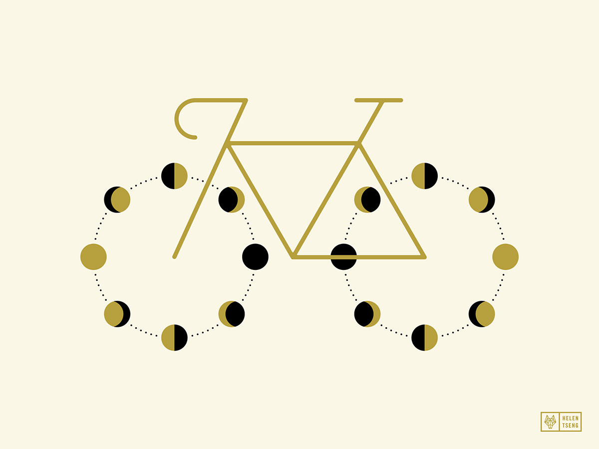 Bike with lunar phase for wheels, illustrated by Helen Tseng