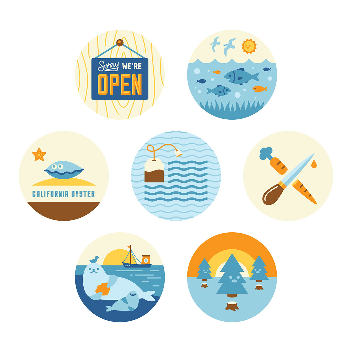 Spot illustrations about Drake Bay Oyster Company, illustrated by Helen Tseng