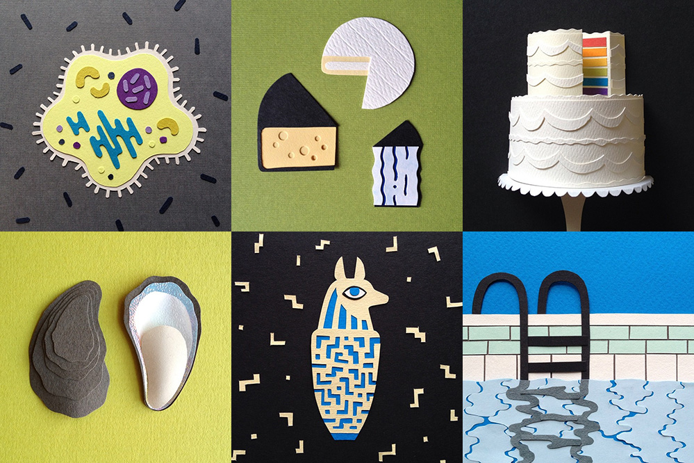 Cut-paper illustrations by Melissa Mcfeeters: germs, cheese, LGBT rainbow cake, shell, anubis vase, swimming pool