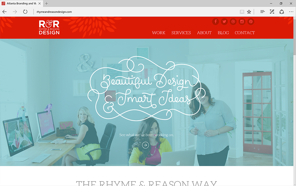 Screenshot of the Rhyme and Reason studio website