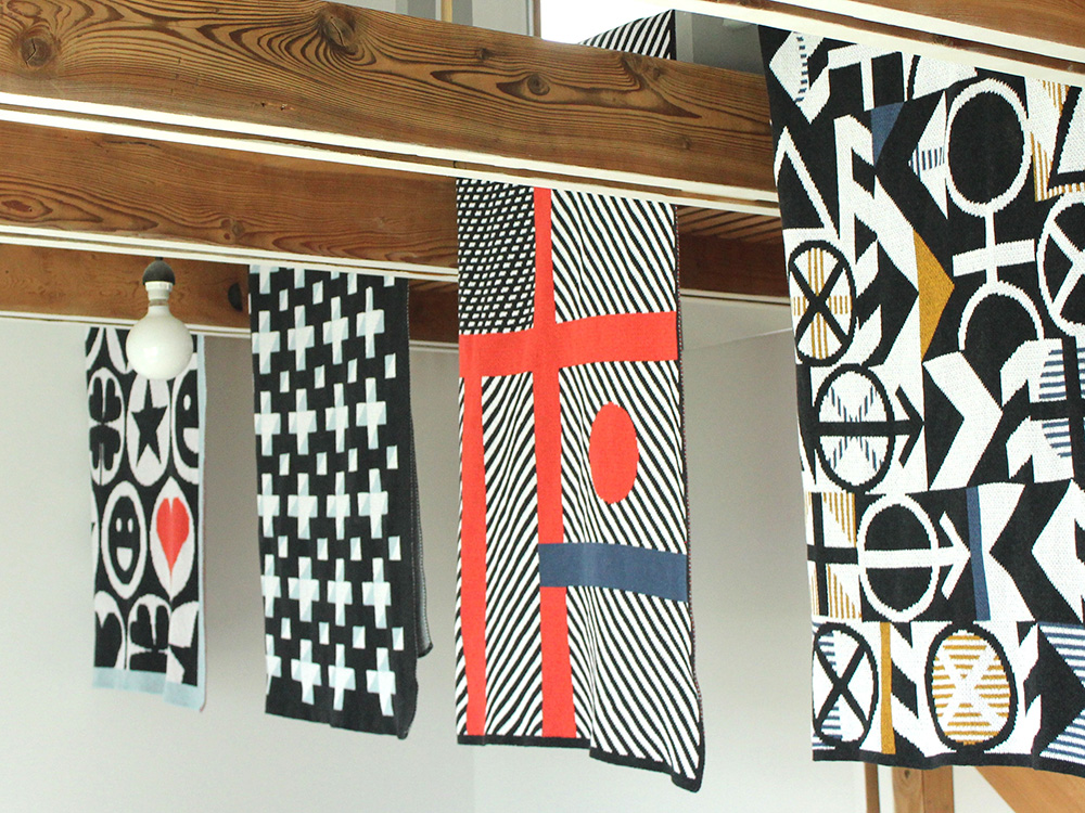Geometric throws designed by DittoHouse, aka Molly Fitzpatrick
