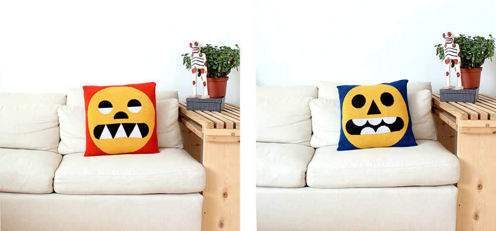 Two photos of pillows with funny geometric faces, perched on a couch; designed by DittoHouse, aka Molly Fitzpatrick