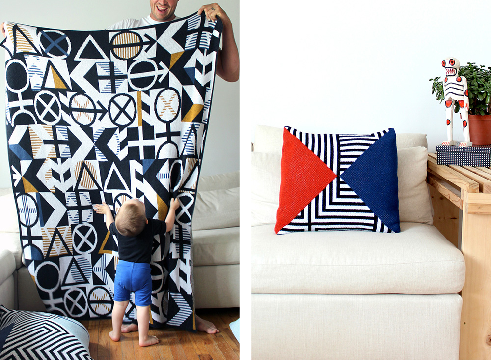 A man holding up a geometric throw while a baby admires it, and another photo with a geometric pillow on a couch; designed by DittoHouse, aka Molly Fitzpatrick