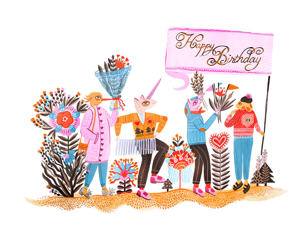 Illustration by Manuja Waldia. A merry band of anthropomorphic characters carry flowers and a sign saying 'Happy birthday'.