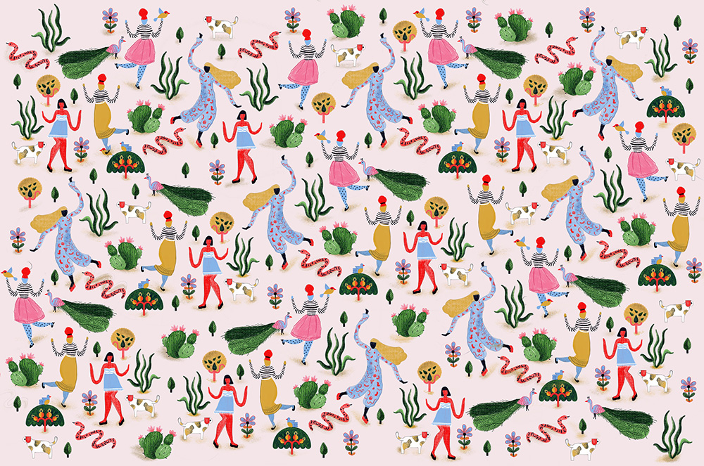 Pattern illustrated by Manuja Waldia. Girls, plants, cats, and peacocks are on the bright pattern.