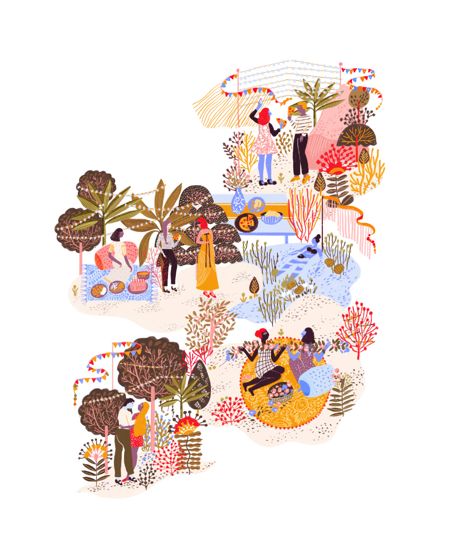 Illustration by Manuja Waldia with figures at a bright, lush garden party