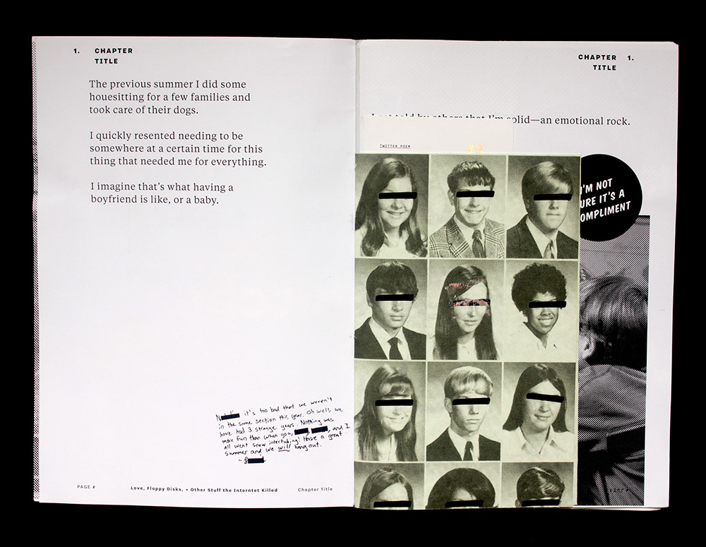 A collaged spread in an artist book by Natalie Shields