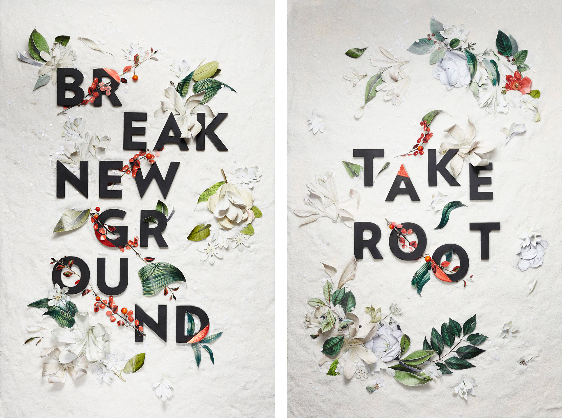 Florally-decorated type by Nicole Licht. Left: 'break new ground', right: 'take root'