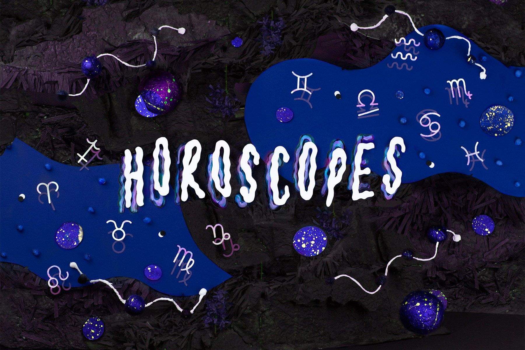 "Illustration by Nicole Licht, which says ""horoscopes"" and is surrounded by astrological and cosmological symbols"