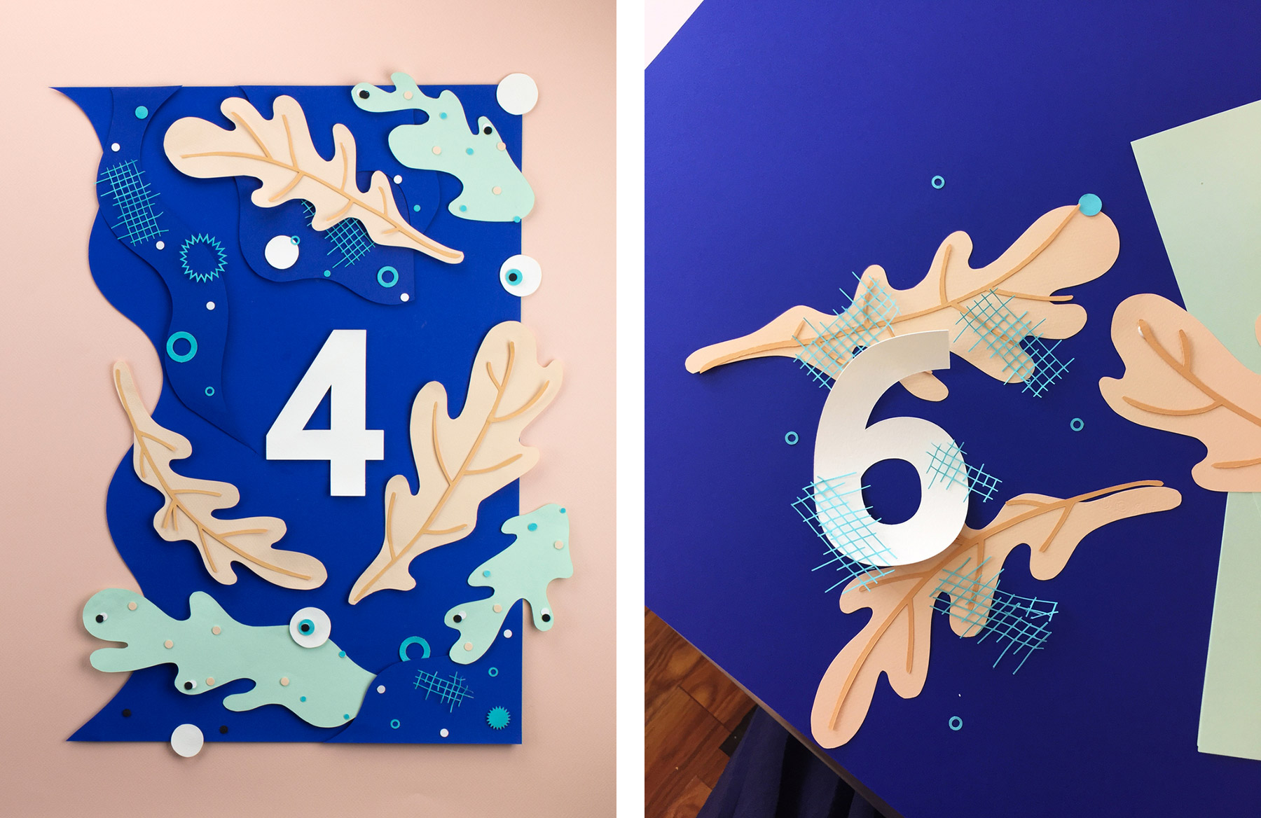 Papercraft countdown by Nicole Licht. Two images show a 4 and a 6 surrounded by stylized leaves.