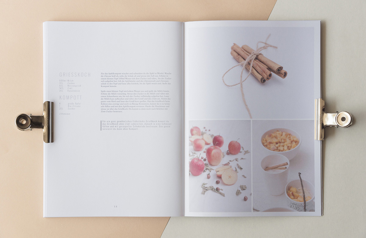 Interior cookbook spread with apples and cinnamon, designed by Stefanie Brückler