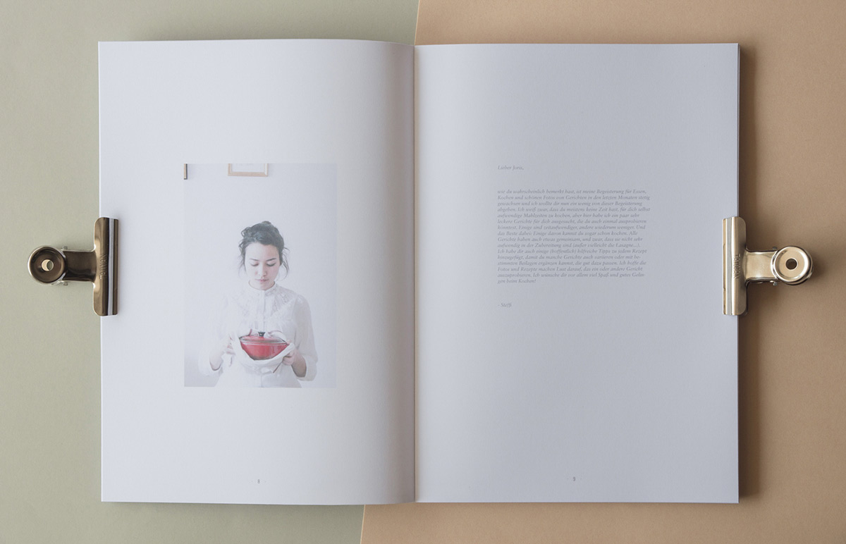 Interior cookbook spread, designed by Stefanie Brückler