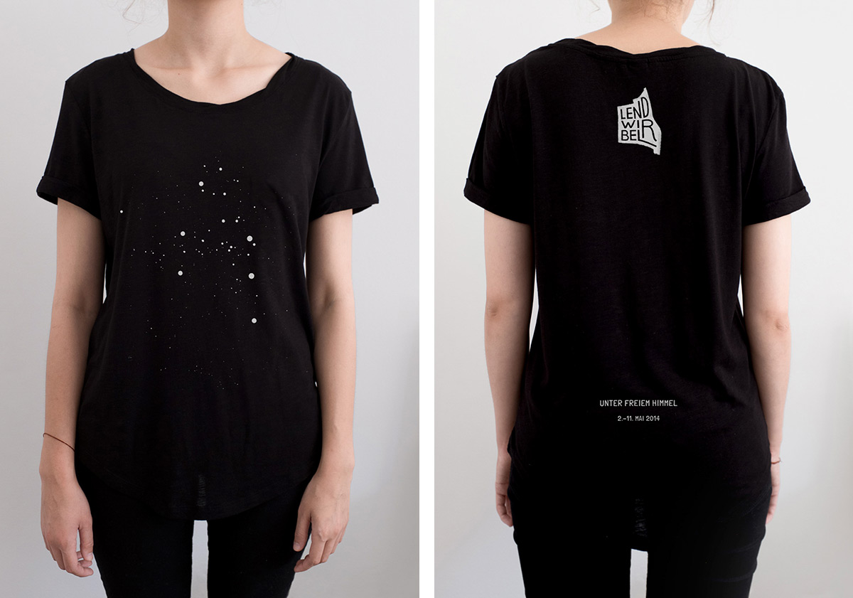 Back and front of black Lendwirbel t-shirt, art directed by Stefanie Brückler