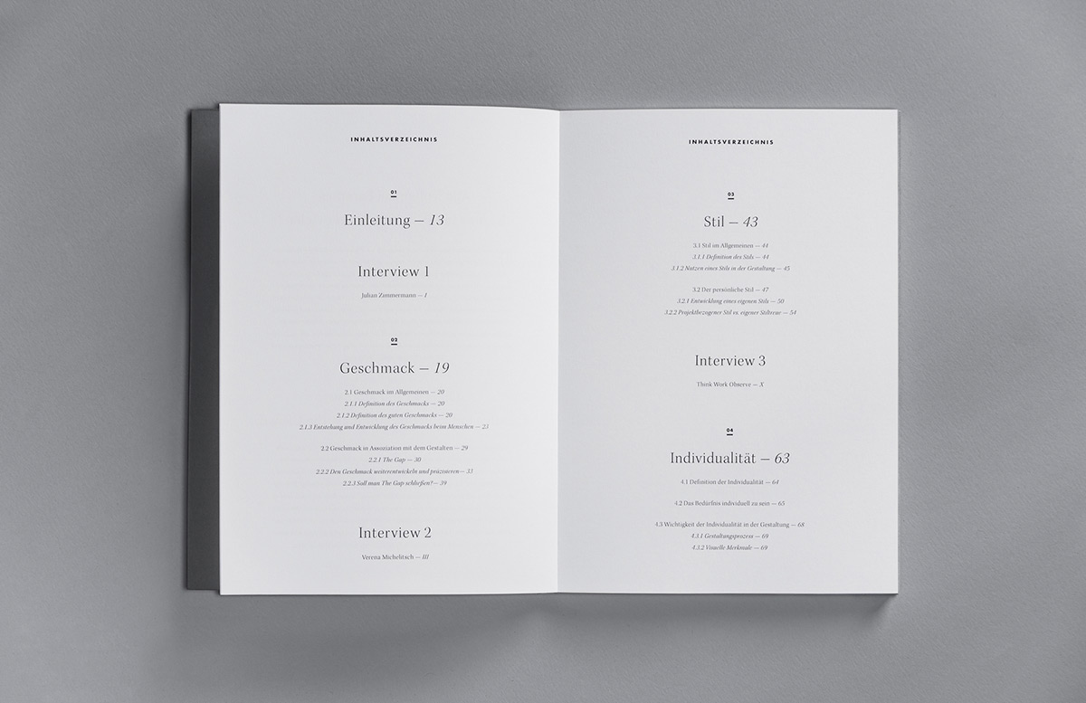 Table of contents for Stefanie Brückler's BA thesis